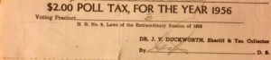 Poll Tax receipt, Lauderdale County, Mississippi