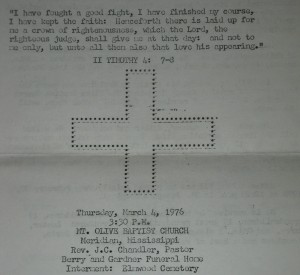 An obituary/program from my great-grandfather's funeral.