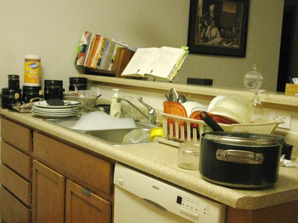 Before I cleaned up--pots and dishes everywhere.