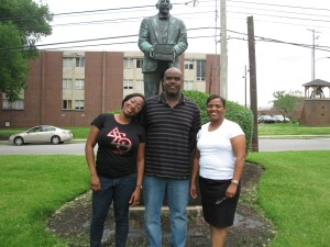 Da Realist1, Jesse, and me in front of W.E.B. DuBois statue on Fisk University's campus